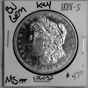 1888 S Bu Gem Morgan Silver Dollar Ms+++ Rare Key Us Coin Free Shipping 126052
