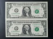 2013 1 Federal Reserve Notes Very Fancy Serial Numbers Uncirculated.