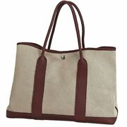 Hermes Garden Party Pm Handbag Tote Bag Toile H Natural Brown T Ladies Bs025