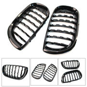Front Kidney Grille Grill Diamond Mesh Gloss Black Fit Bmw E46 4 Door 02-05 Abs