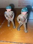 2 Barclay Manoil Toy Soldiers Pod Foot Officer Marching B-235 Manoil Grey Iron