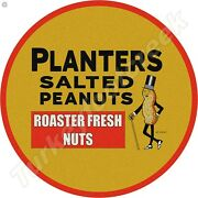 Planters Salted Peanuts 11.75in Round Metal Sign