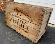 Antique Vintage Walter Baker And Co Breakfast Cocoa Chocolate Crate Dorchester Ma
