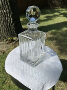 Square Crystal Glass Whiskey Decanter /w Stopper 10 1/2 - Vintage - Beautiful