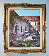1978 Edgardo F Garcia Oil Painting On Canvas Mission House 27x 31 Signed Cert.