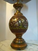 Rare Marbro Brass Cloisonne Oriental Style Dual Socket Lamp - Shade Not Included