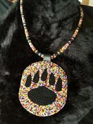 Native American Beaded Pow Wow Medallion Necklace