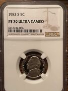 Lot 1983,1984,1985, And1986 S Proof Jefferson Nickel Ngc Pf 70 Ultra Cameo