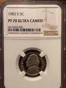 Lot 198319841985 And1986 S Proof Jefferson Nickel Ngc Pf 70 Ultra Cameo