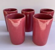 5 Dusty Rose Ceramic Pottery Tall Glasses Arts And Crafts/ Mission
