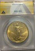 1914 D Gold 20 Saint Gaudens Double Eagle Coin Anacs Mint State 61