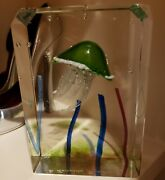 Vintage Murano Glass Jelly Fish Themed Sculpture 7.5 X 5 X 2.5 Signed