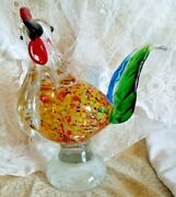 Vintage Murano Style Italian Art Glass 8 Tall Rooster Chicken Figurine