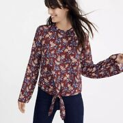 Madewell Bell-sleeve Tie Top In Antique Flora Size Small Floral Print Burgundy