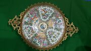 Large Antique Chinese Famille Rose Porcelain Charger Bronze Mounts Centerpiece