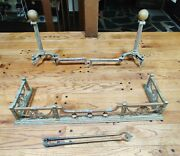 Antique Fireplace Ornate Fender Shirt W/ Andirons Solid Brass -nice Patina 42