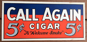 1950and039s Call Again 5 Cent Cigar Paper Sign Mounted On Thick Cardboard