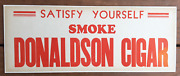 1930and039s Donaldson Cigar Sign Mounted On Thick Cardboard