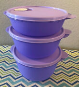 Tupperware Crystalwave Microwave Containers Set Of 3 4 6 1/4 8 1/2 Cups Lilac