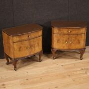 Pair Of Nightstands In Inlaid Wood Glass Top Bedside Tables Furniture Vintage