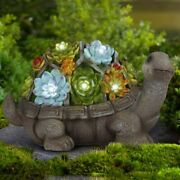 Turtle Garden Figurines Outdoor Decor Solar Statue With 7 Leds For Patio Lawn