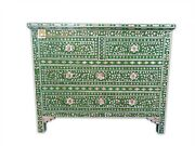 Chest Of 4 Drawers Mother Of Pearl Inlay Floral Design In Green Color Home Decor