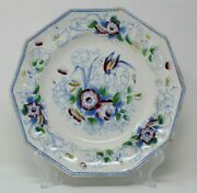 Livesley And Powell Henley Paradise Polychrome 9 Octagon Plate C.1860 Green Red