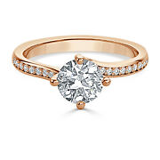 Vrai Diamant Rond 0.70 Ct Femme Fianandccedilailles Anneaux Solide 14k Or Rose Size 7 8