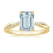 Naturel 14k Or Jaune Pierre Andeacutemeraude Coupe 2.24 Ct Aigue-marine Rings Taille 4 5