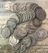 [lot Of 50] Mercury Dimes Roll 1916-1945 90 Silver Full Date Every Coin