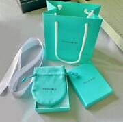 And Co. Empty Blue Gift Box Ribbon Pouch Shopping Bag 4pc Set Packaging