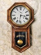 Very Rare Circle 1878 Vintage Antique Usa Welch 8 Day Clock Double Striking