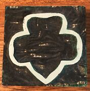 """Vintage Girl Scout Trefoil Clover Logo Wood Stamp 3""""x3"""" American Crayon Company"""