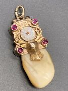 Antique Large Elks Tooth 14k Yellow Gold And Rubies Pendant/charm Bpoe Club Order