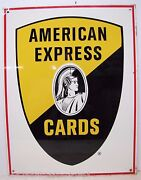 1960s American Express Cards Centurion 2 Sided Steel Sign Stout St Louis Mo Usa