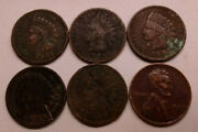 Ugly Cull Junk Poor Indian Head Cents Wheat Penny 1901 1903 1904 1905 1907 1942