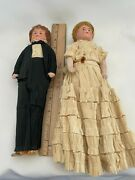 Early Antique German Bisque Mignonette Bride And Groom Dolls Original Old Outfit