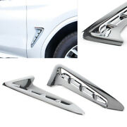 Exterior Outside Side Air Vent Chrome Cover Trim Abs Fit Bmw X3 G01 2018 Pair