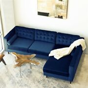 Owen Mid-century L-shaped Pillow Back Velvet Right-facing Sectional In Blue