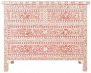 Mother Of Pearl Chest Of 4 Drawers Floral Design In Pink Color Home Decor Furnit