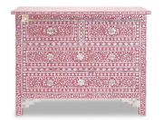 Chest Of 4 Drawers Mother Of Pearl Floral Design In Raspberry Color Home Decor F