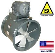 Tube Axial Duct Fan - Explosion Proof - 18 - 1 Hp - 230/460v - 4600 Cfm - Wet