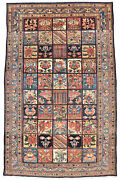 Vintage Tribal Bakhtiari Rug 7and039x11and039 Blue Hand-knotted Wool Pile