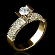 14k Yellow Gold 2 Carat Diamond Solitaire W/ Side Accents Wedding Ring