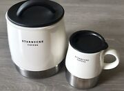 Starbucks White Stainless Steel Coffee Storage Canister And 12 Oz Travel Mug Lot