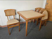 Vintage Stakmore Wood Folding Card Table W 4 Wood Chairs With Caning Backs