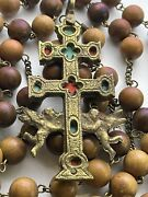 Anddagger Scarce Huge Brass Caravaca Cross Relic Theca Double Sided Crucifix 5 Rosary Anddagger