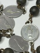 Anddagger Scarce Antique Five Wounds Jesus Stigmata Large Round Wood Rosary Chaplet Anddagger