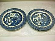 Set Of 8 Churchill Blue Willow Dinner Plates Made In England 10 1/4