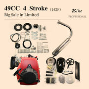 New 49cc Bicycle Motorized 4 Stroke Petrol Gas Motor Engine Kit Silver Black Red